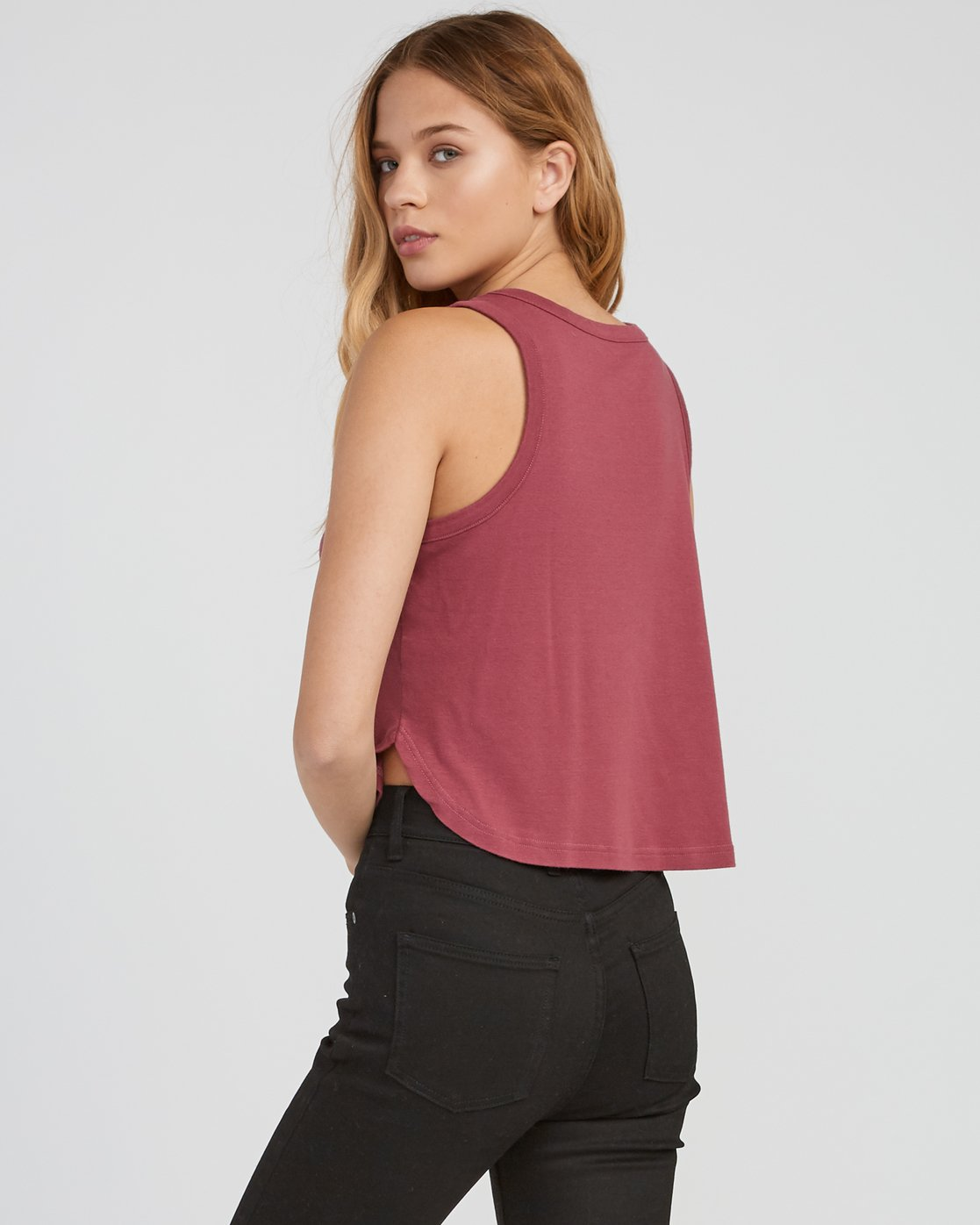 2 Label Cropped Tank Top Pink W499SRLA RVCA