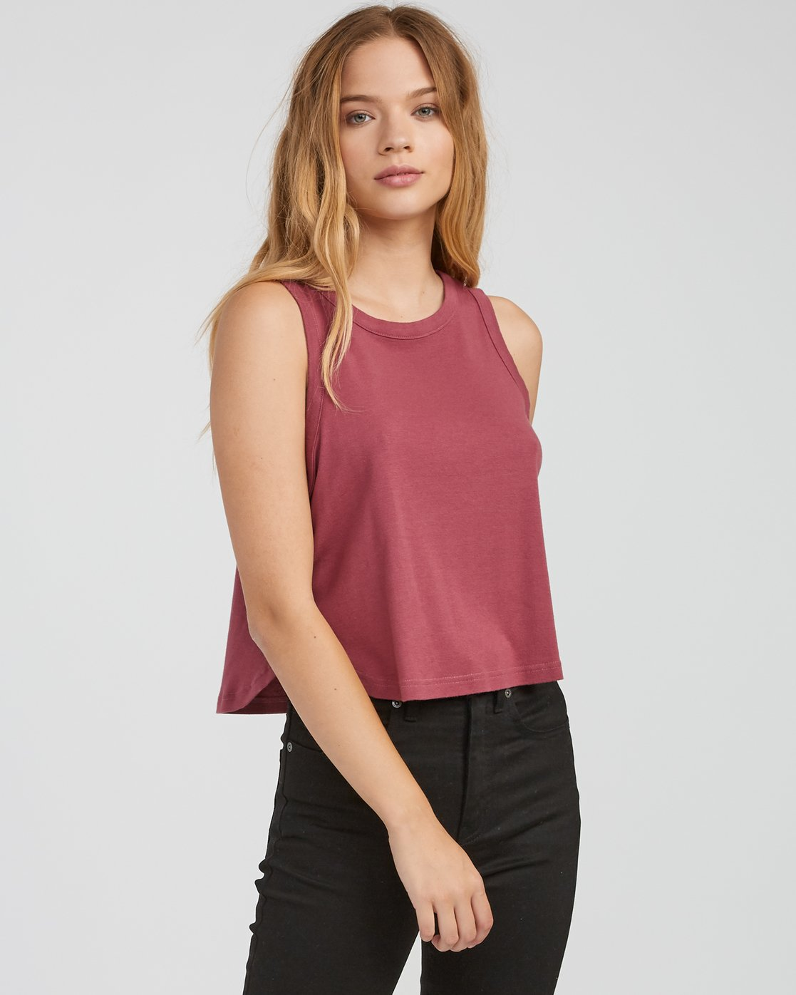 0 Label Cropped Tank Top Pink W499SRLA RVCA