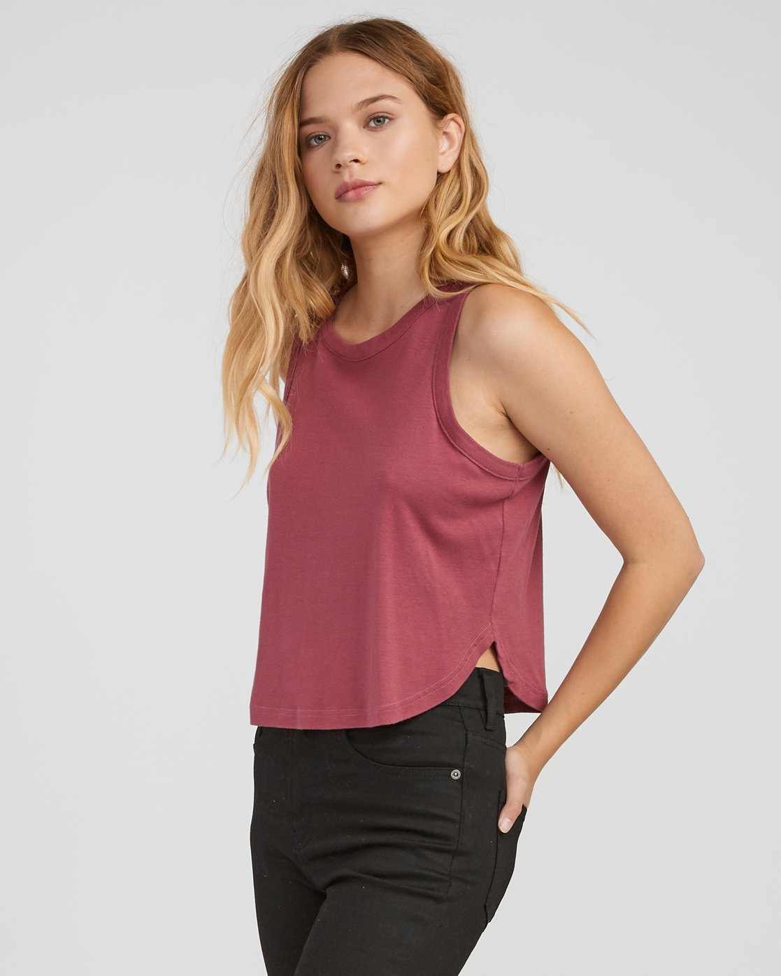 1 Label Cropped Tank Top Pink W499SRLA RVCA