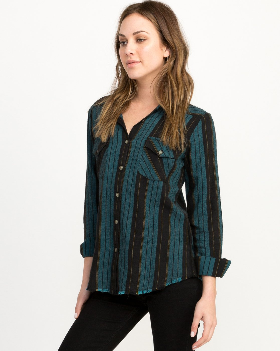 1 Arch Striped Button-Up Flannel Top  W502QRAR RVCA