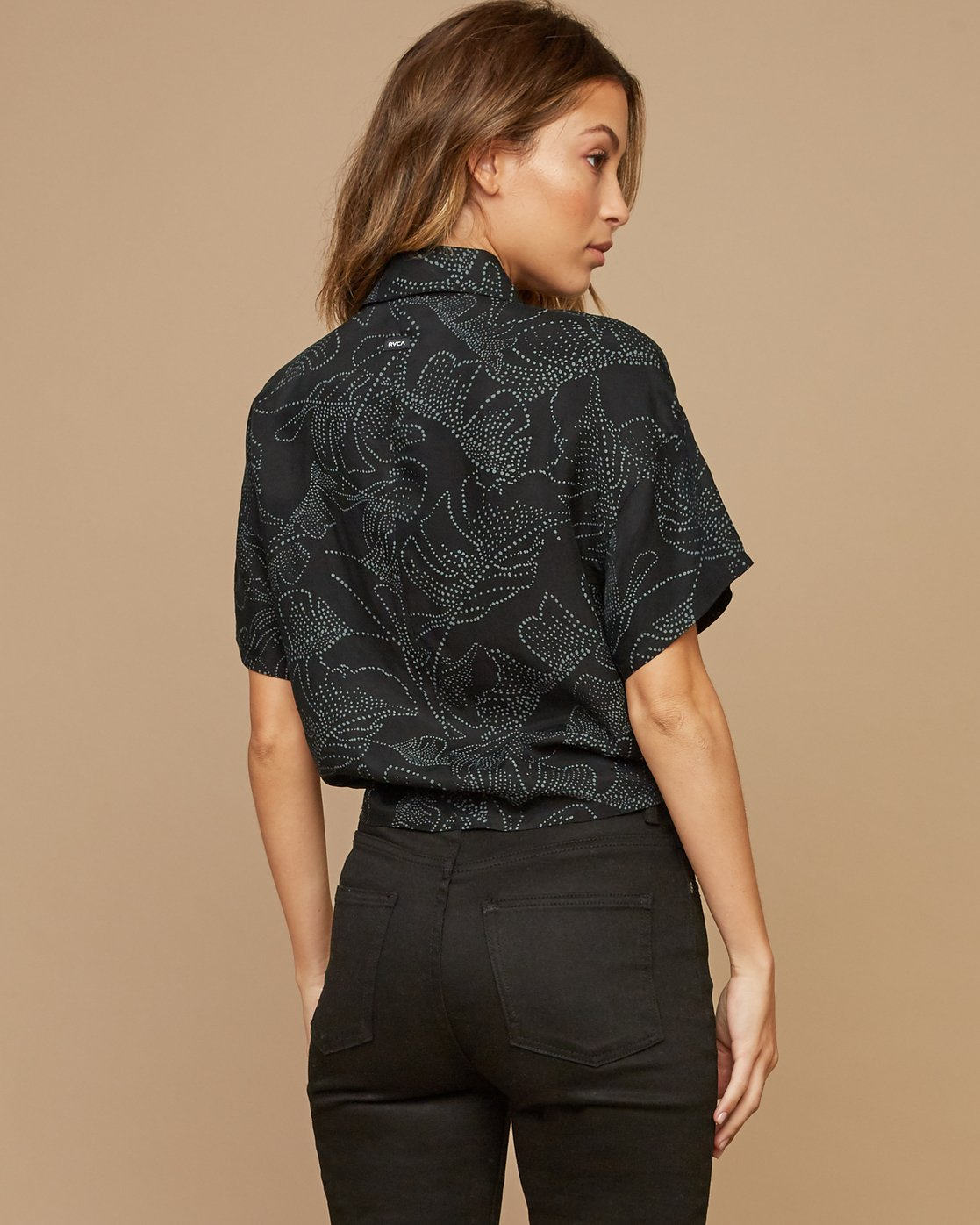 3 Gridlock Printed Button Top Black W502SRGR RVCA