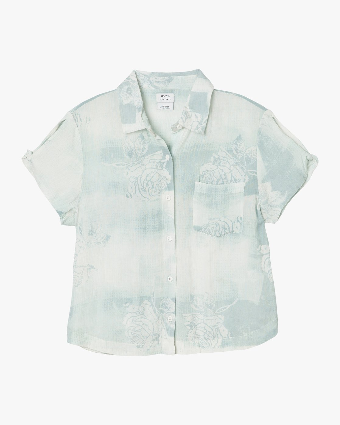 5 Oblow Skytown Floral Button-Up Top Blue W508PRSK RVCA
