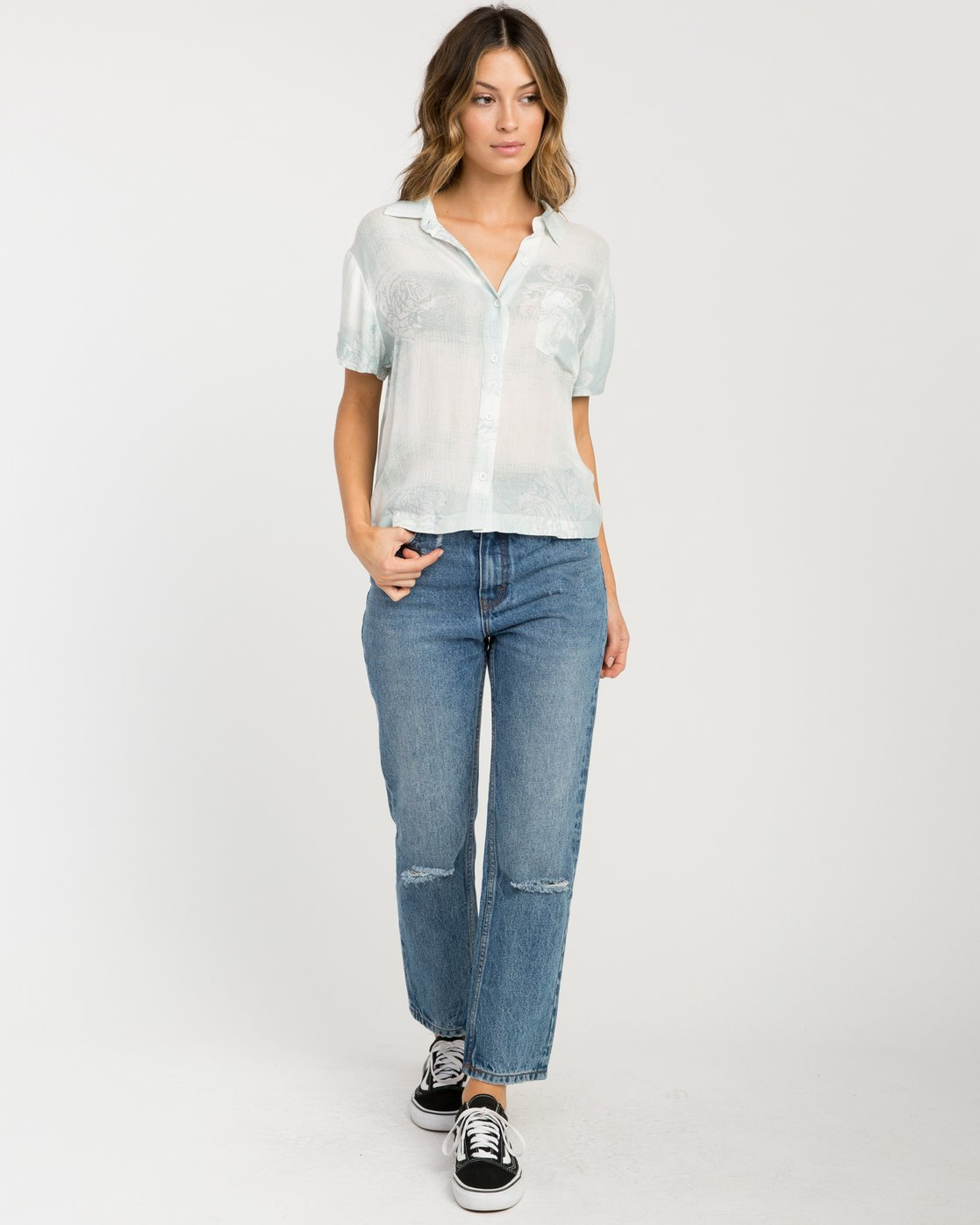 4 Oblow Skytown Floral Button-Up Top Blue W508PRSK RVCA