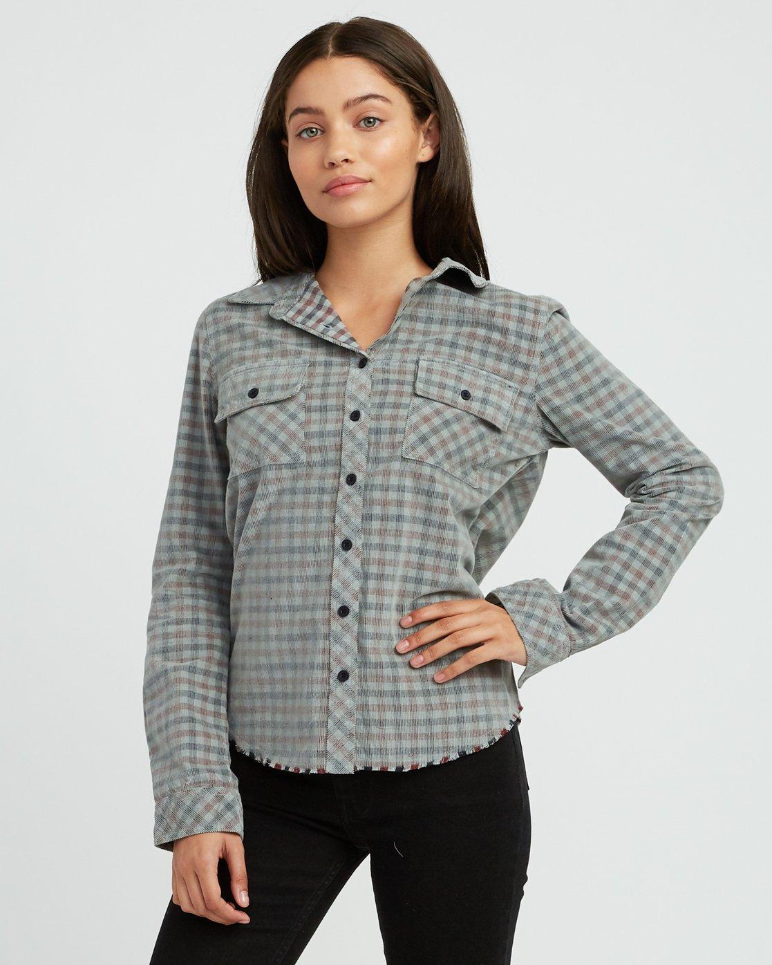 1 Buffalo Corduroy Button-Up Shirt Pink W512SRBU RVCA