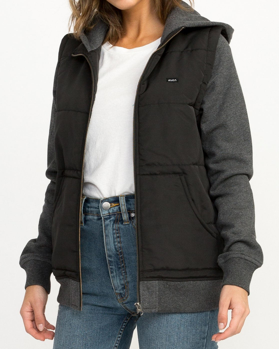 3 Eternal Quilted Fleece Jacket Black W601QRET RVCA