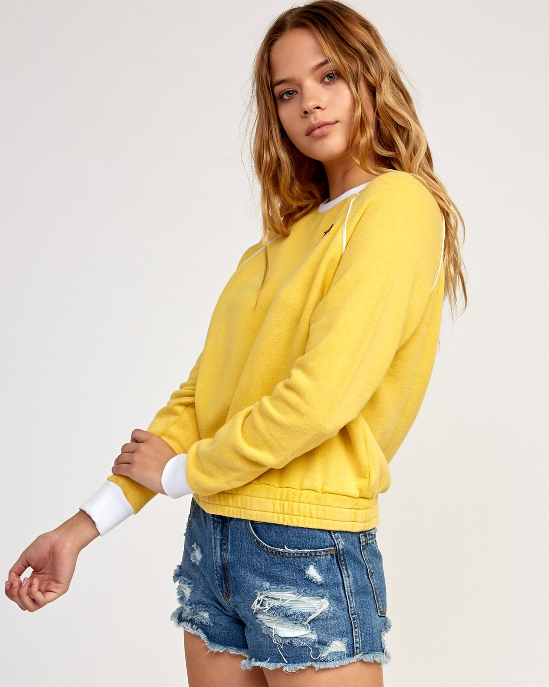 2 Hangtown Fleece Sweatshirt Yellow W601TRHF RVCA