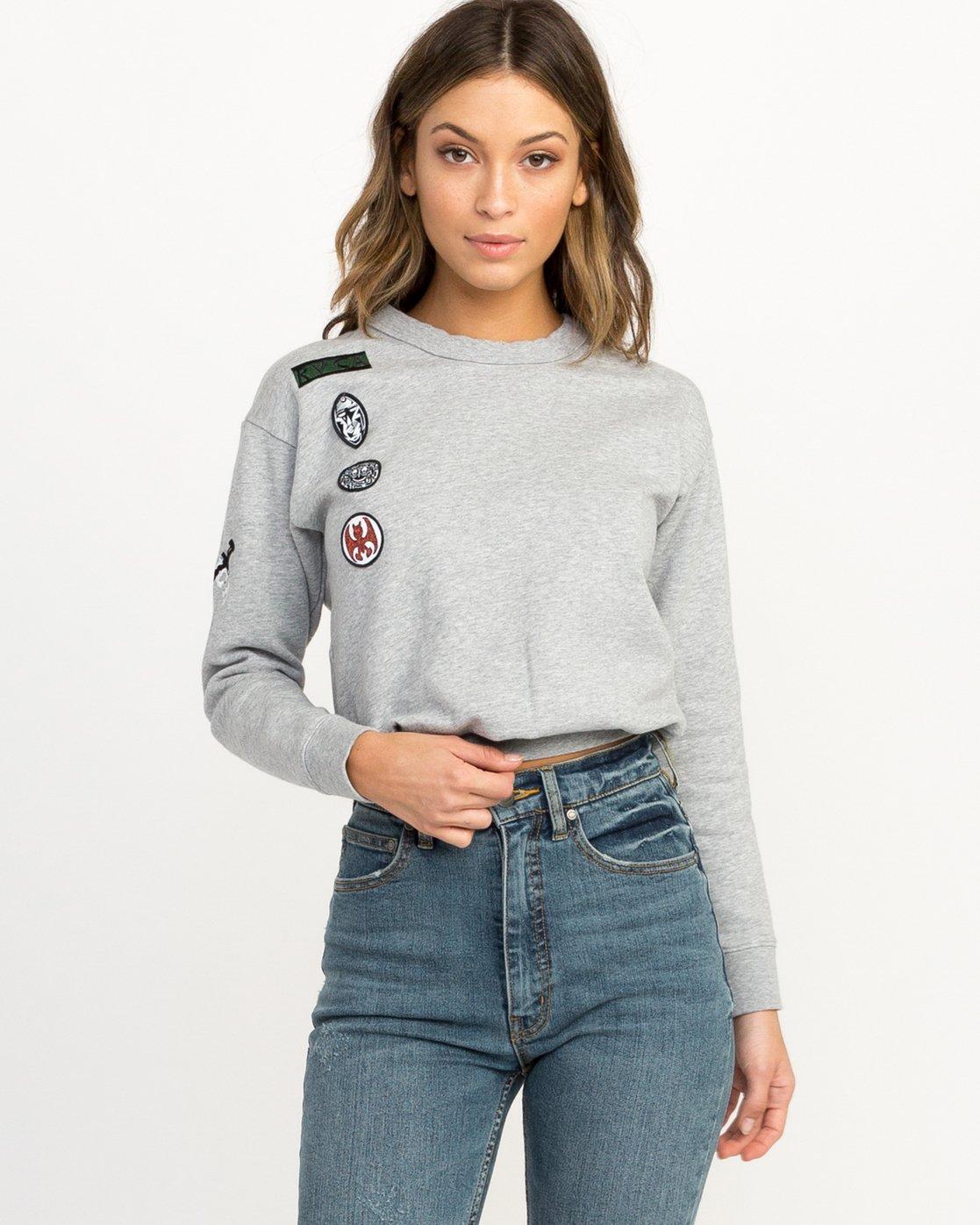 0 Joe Grillo Patch Sweatshirt Grey W608QRGR RVCA