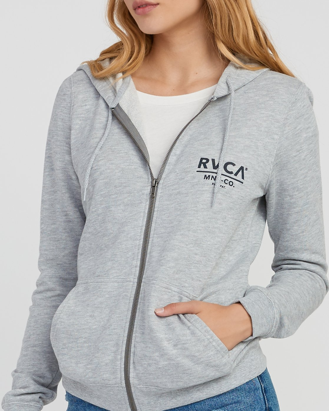 3 Mascot Zip Up Hoodie Grey W616SRMA RVCA