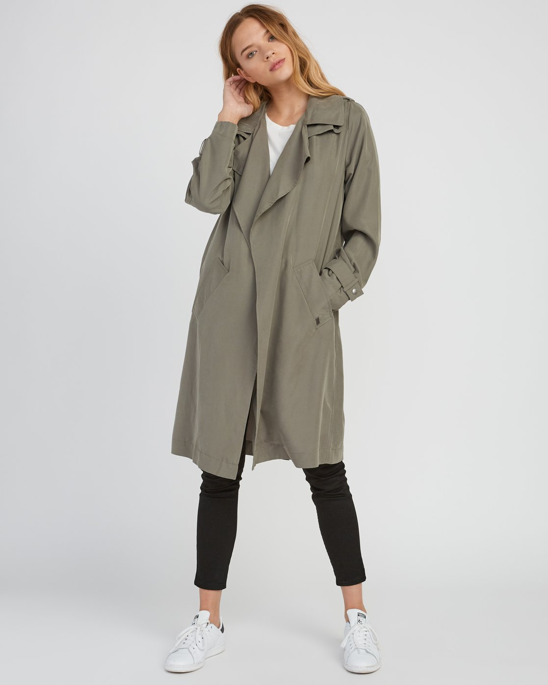 4 Mac Draped Trench Coat Green W701SRMA RVCA