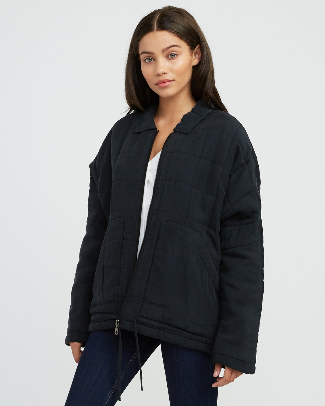 0 Carton Quilted Jacket Black W702SRCA RVCA