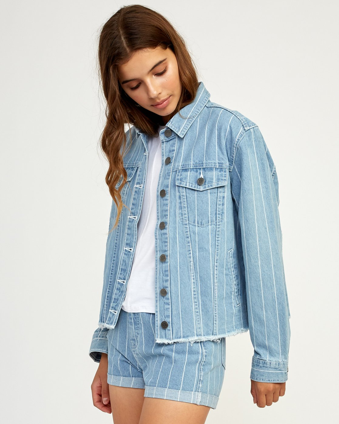 2 Pause It Striped Denim Jacket Blue W702TRPA RVCA