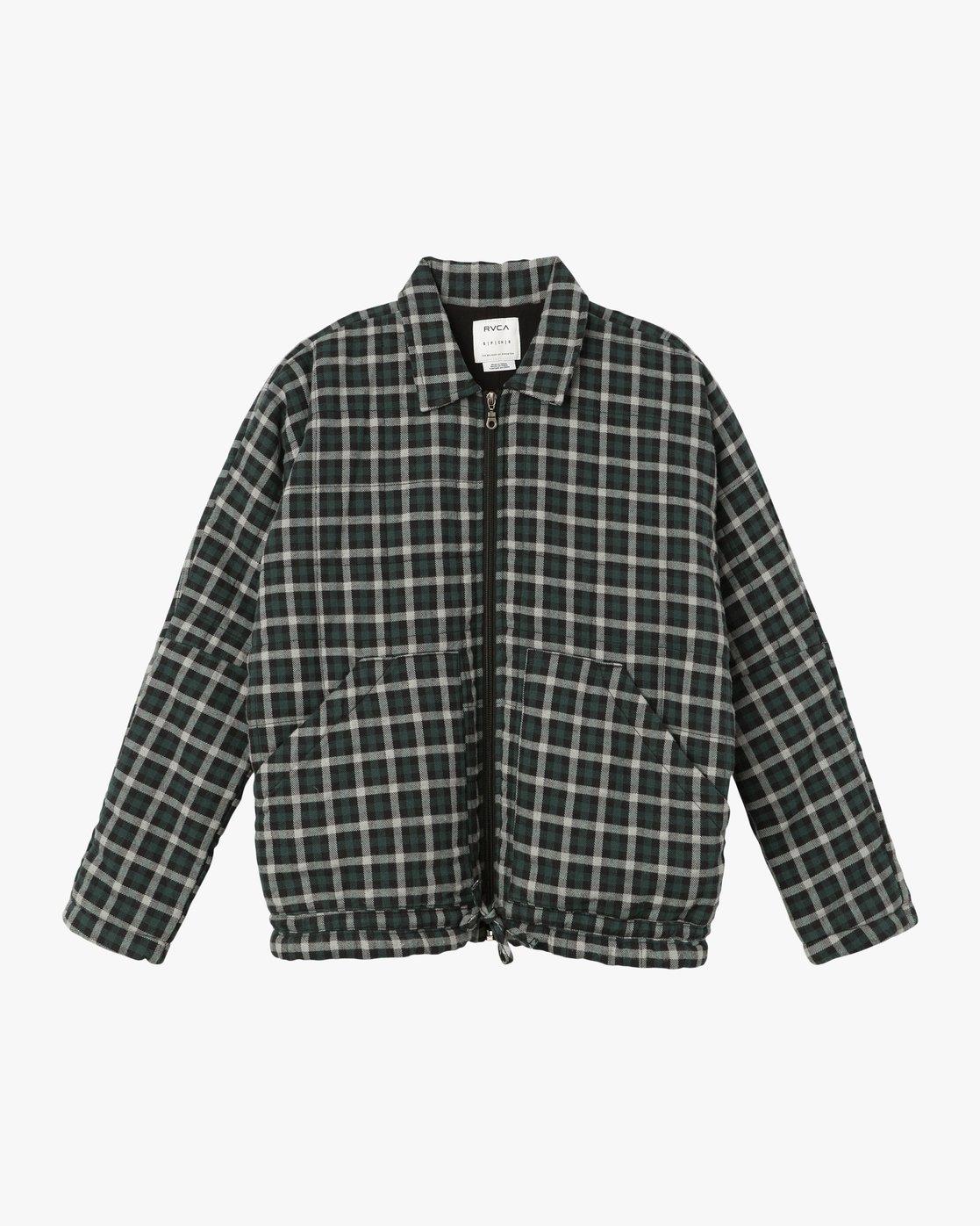 6 Caddy Plaid Flannel Jacket Green W703SRCA RVCA