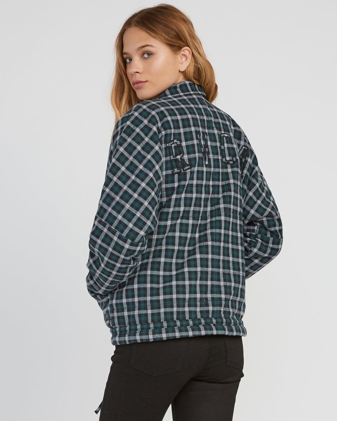2 Caddy Plaid Flannel Jacket Green W703SRCA RVCA