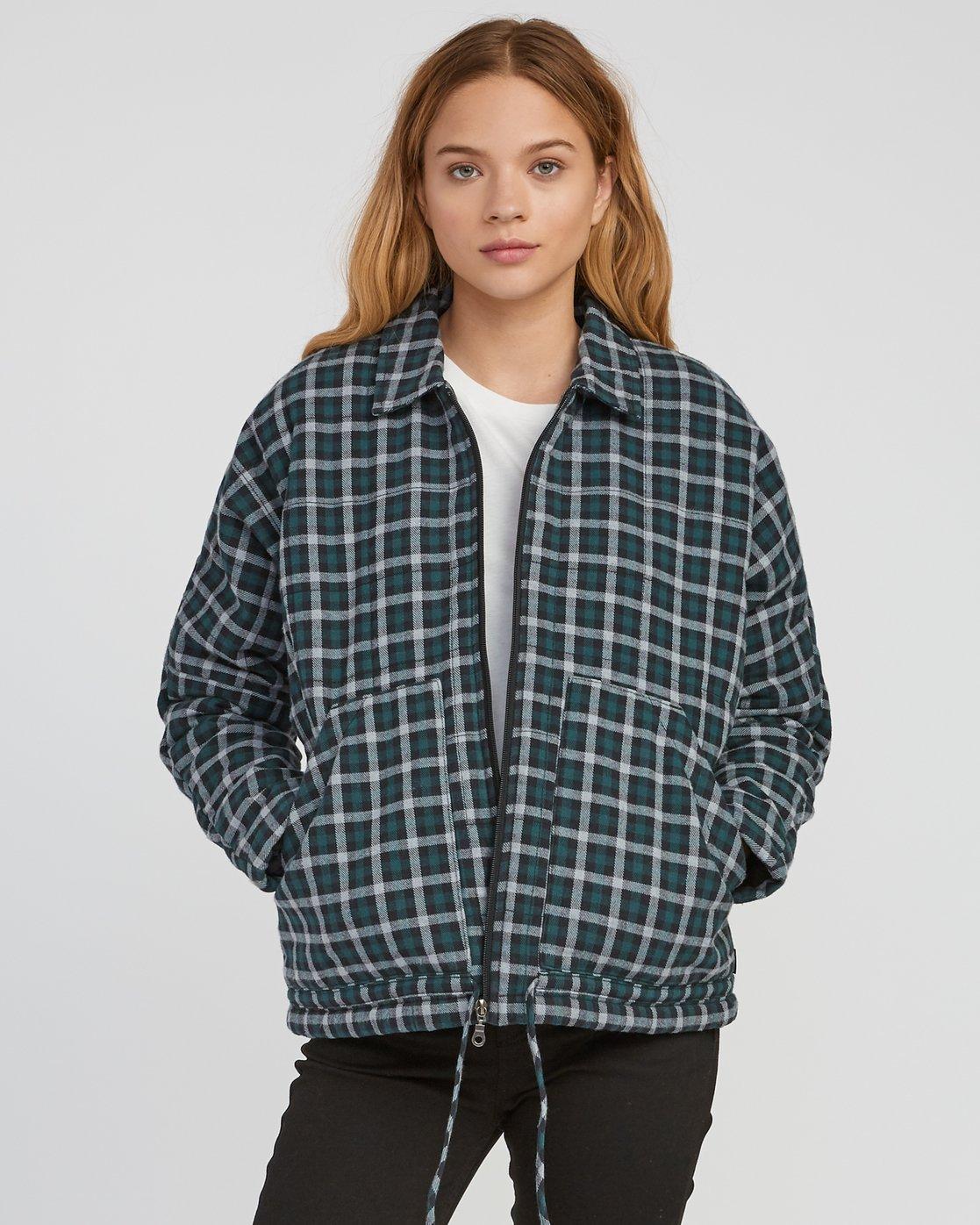 0 Caddy Plaid Flannel Jacket Green W703SRCA RVCA
