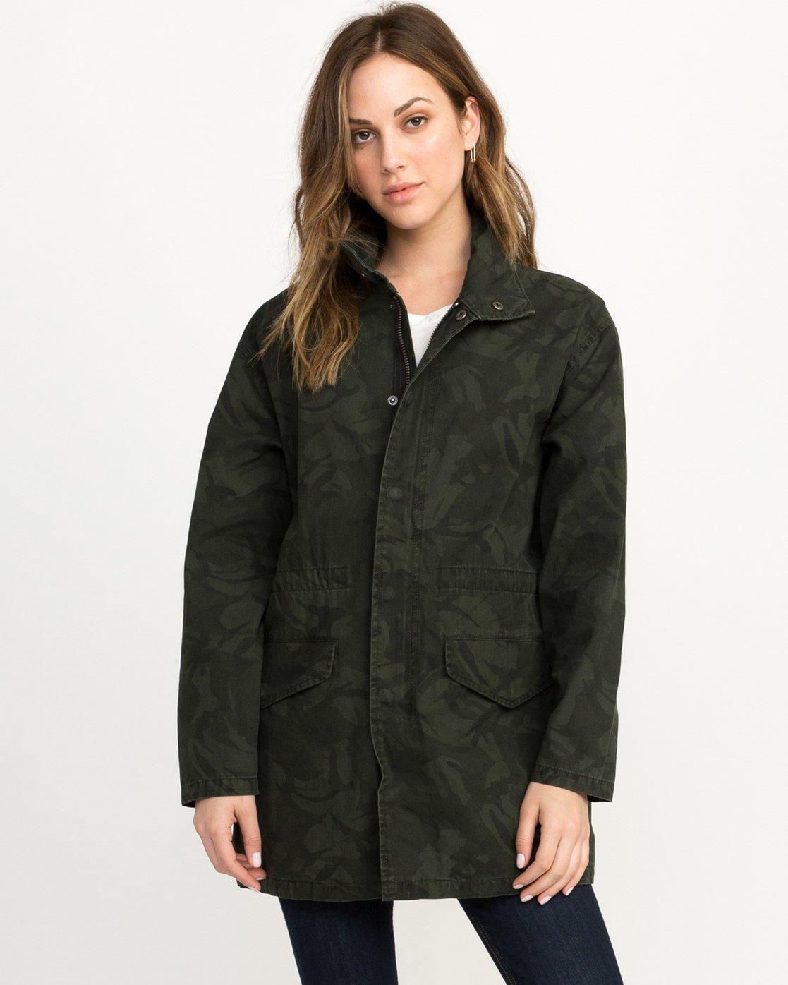 0 Racket Longline Anorak Jacket Camo W704QRRA RVCA