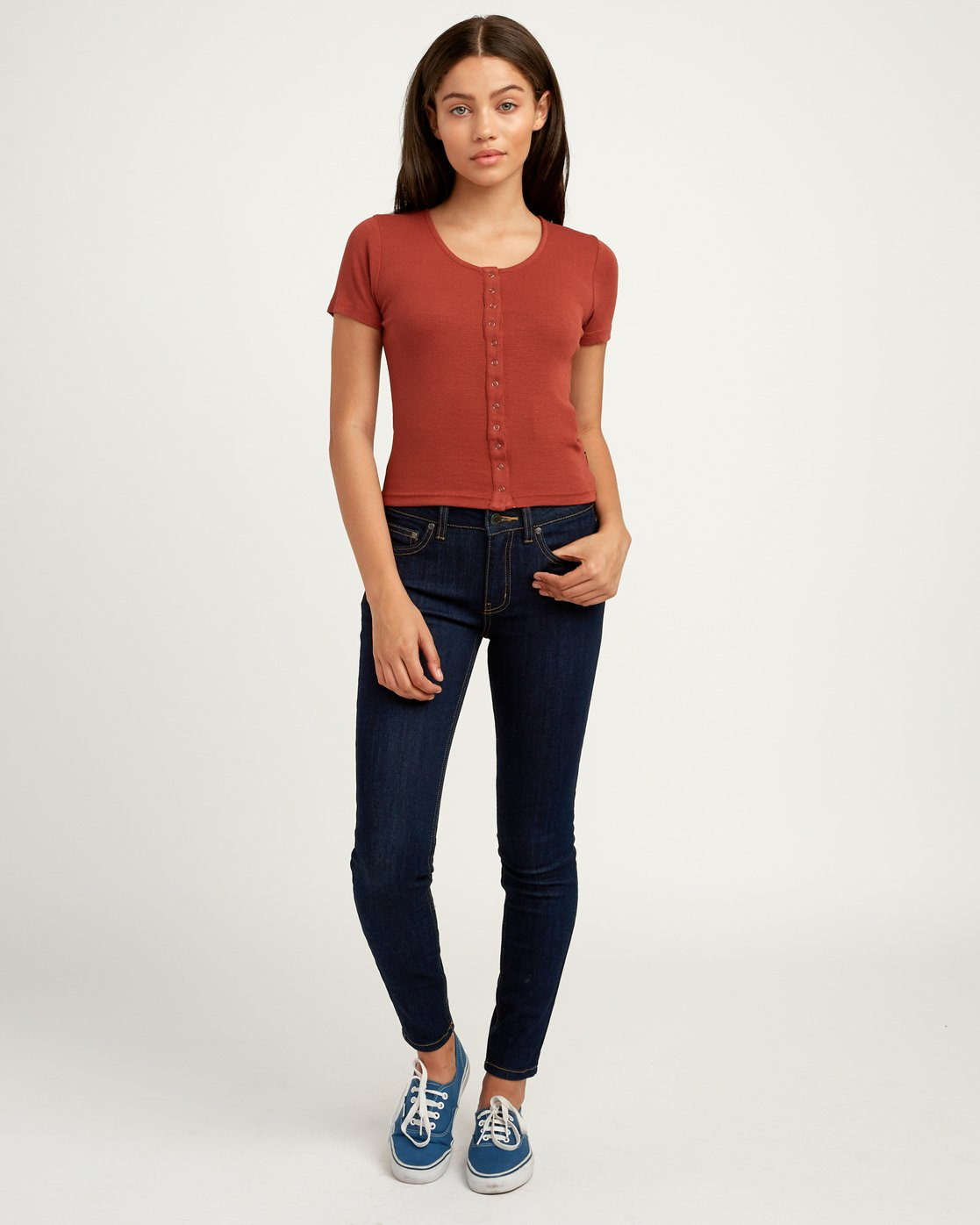 4 Nation Ribbed Crop Top Brown W904QRNA RVCA
