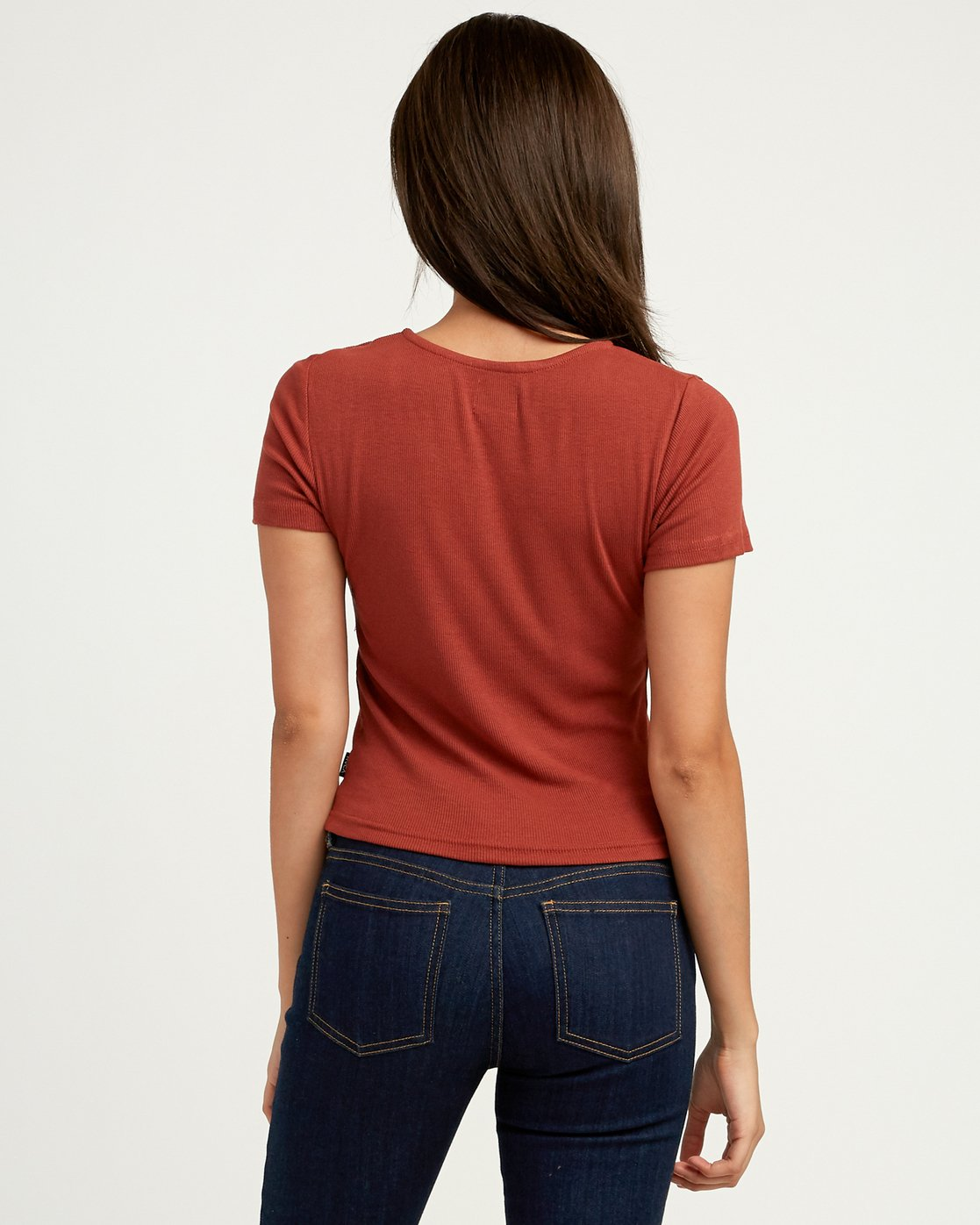 2 Nation Ribbed Crop Top Brown W904QRNA RVCA