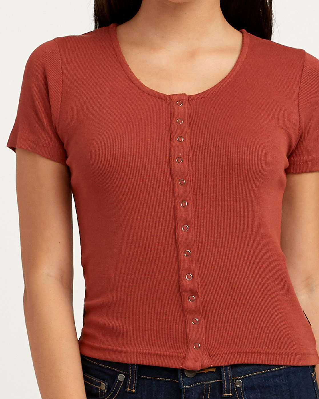 3 Nation Ribbed Crop Top Brown W904QRNA RVCA