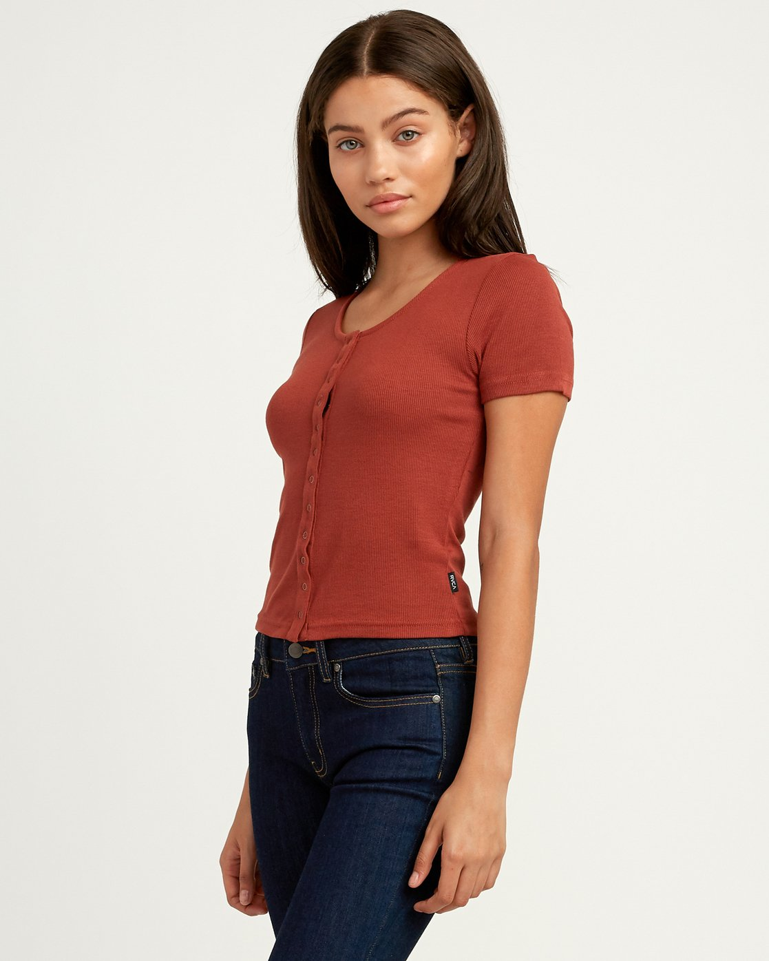 1 Nation Ribbed Crop Top Brown W904QRNA RVCA