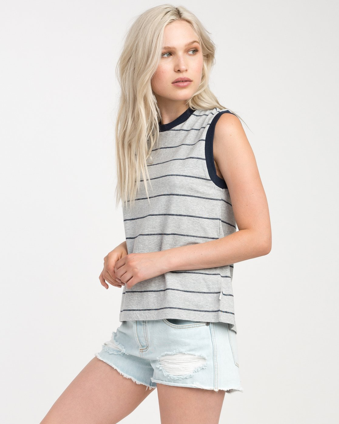 1 Watch Me Striped Muscle Tank Top Grey W908NRWA RVCA