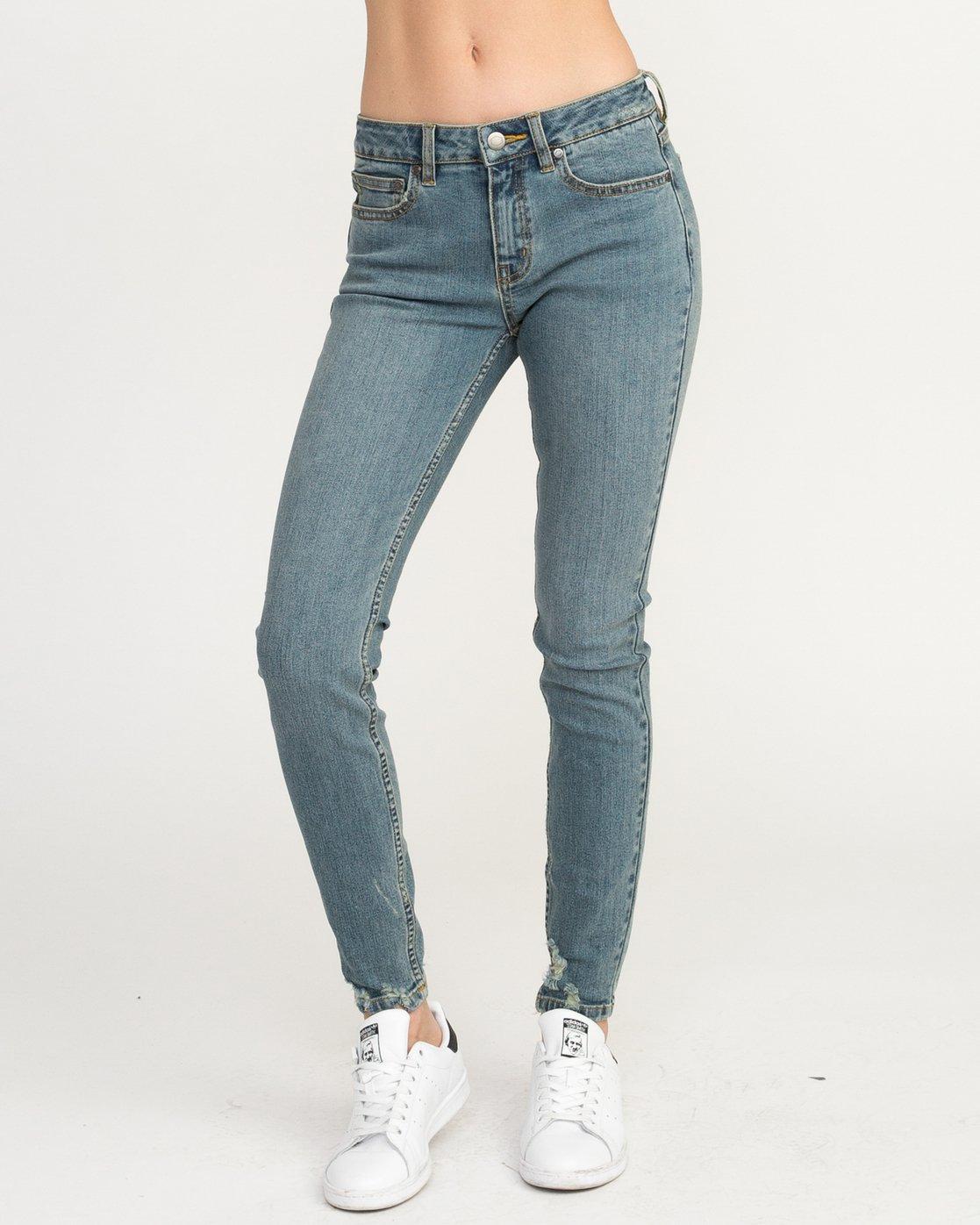 0 Dayley Mid Rise Denim Jeans Blue WCDP02DA RVCA