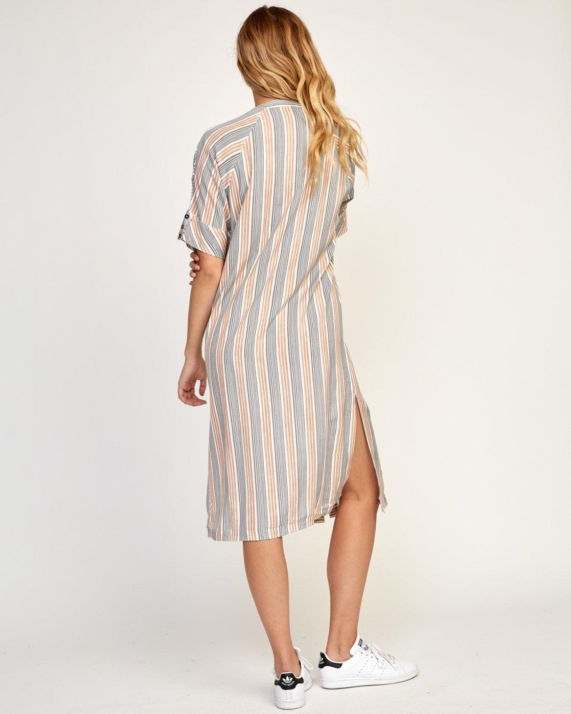 4 Circus Striped Button-Up Midi Dress Beige WD02TRCI RVCA
