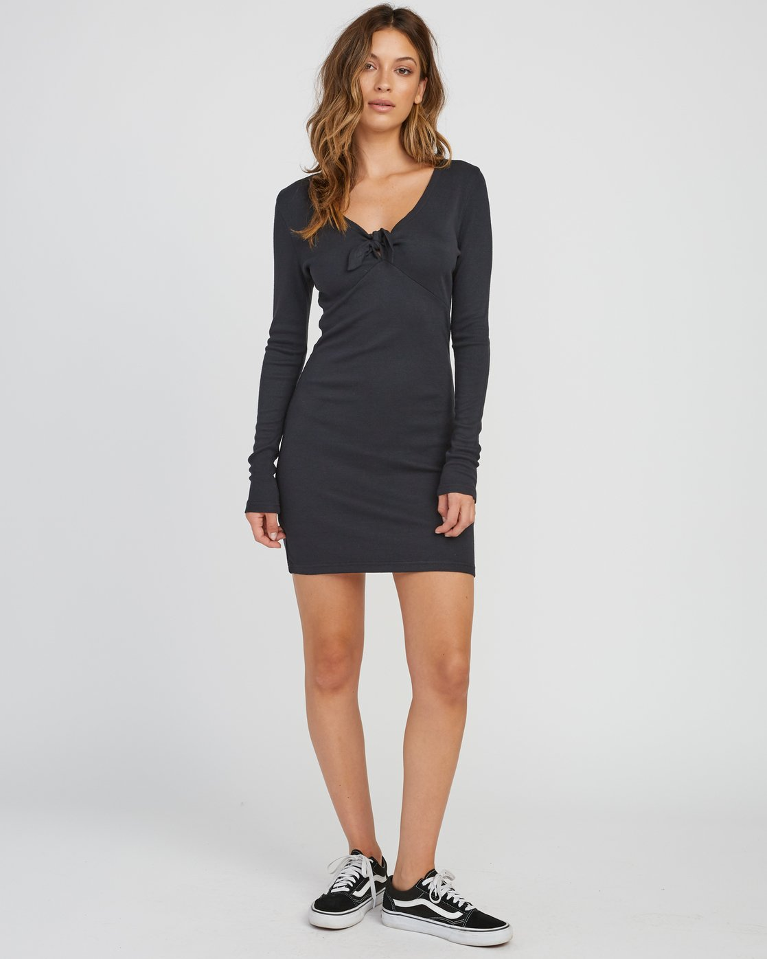 4 Knot Up Fitted Long Sleeve Dress Black WD04SRKN RVCA