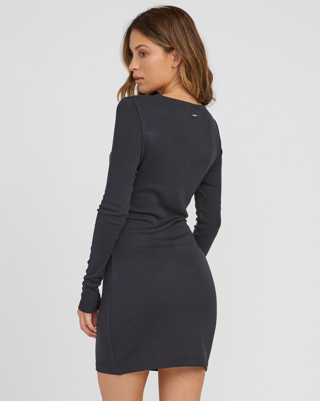 2 Knot Up Fitted Long Sleeve Dress Black WD04SRKN RVCA