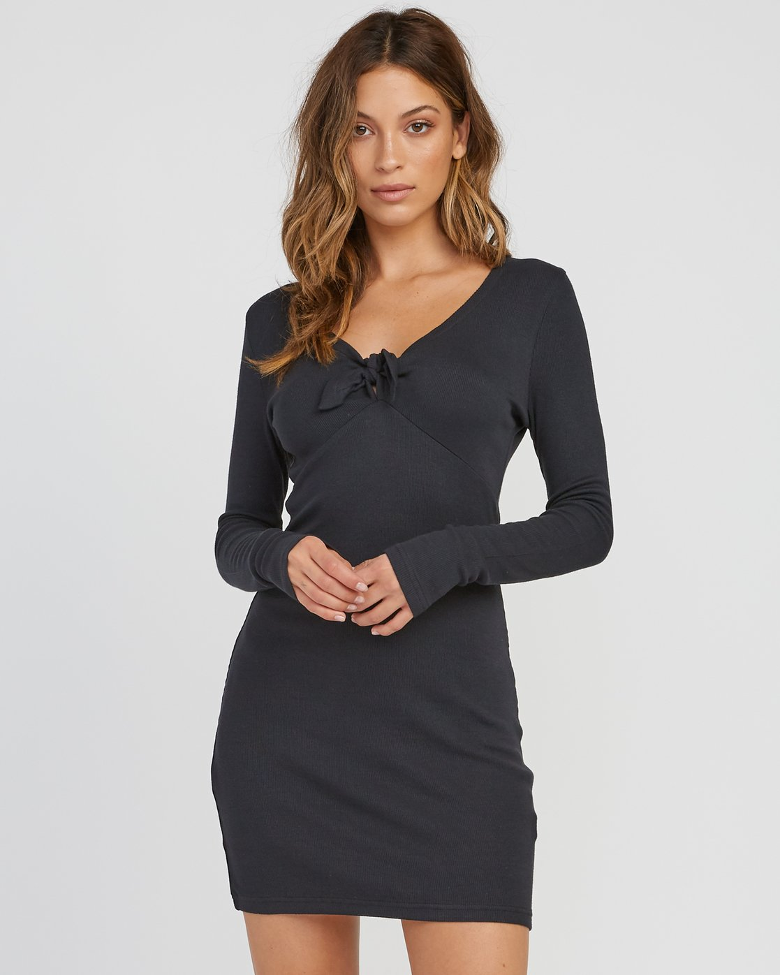 0 Knot Up Fitted Long Sleeve Dress Black WD04SRKN RVCA