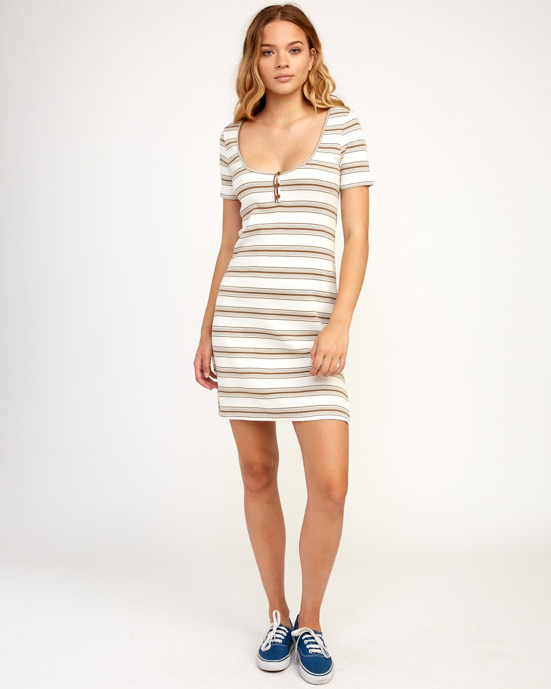 5 Vamp Striped Knit Dress Beige WD04TRVA RVCA