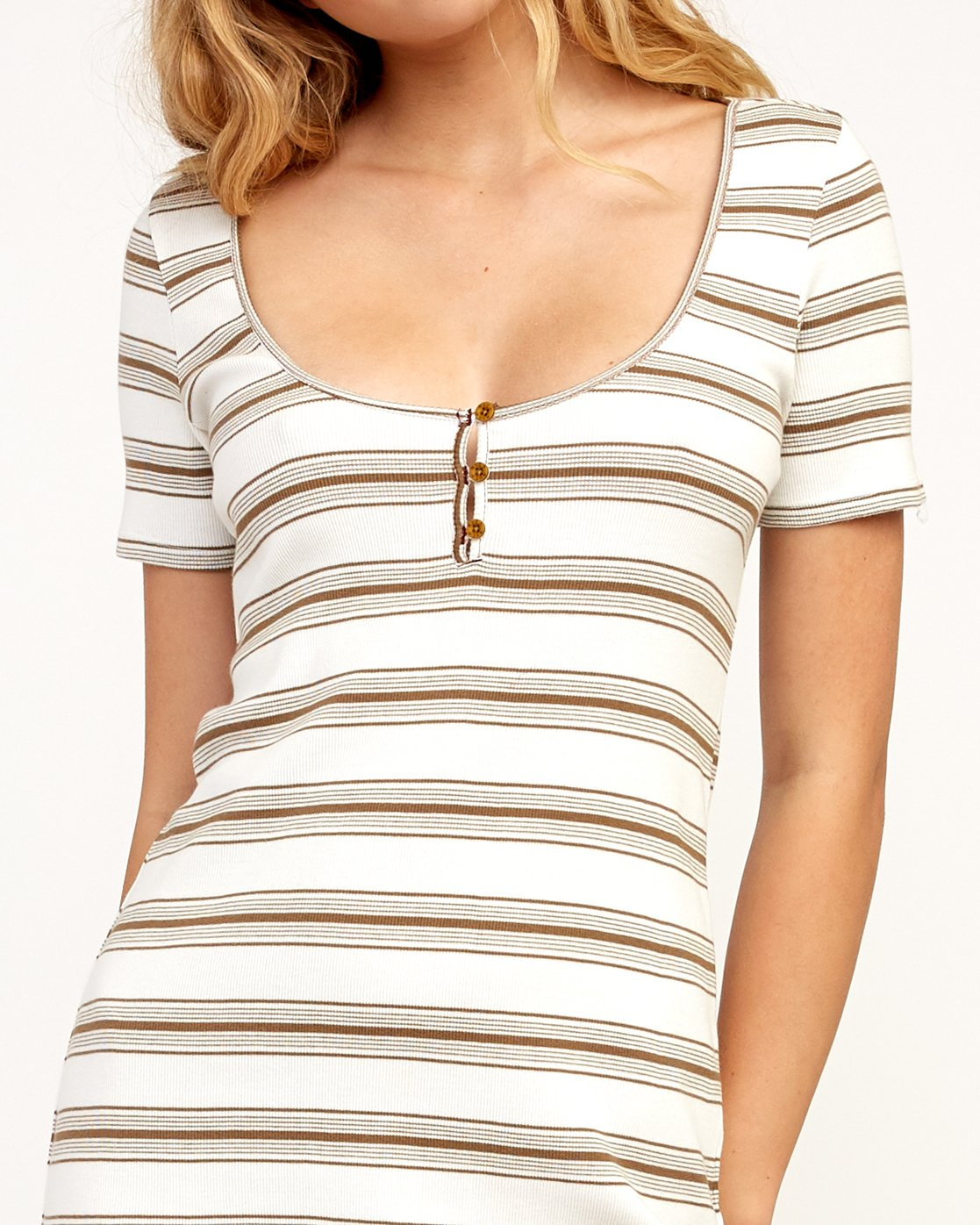 4 Vamp Striped Knit Dress Beige WD04TRVA RVCA