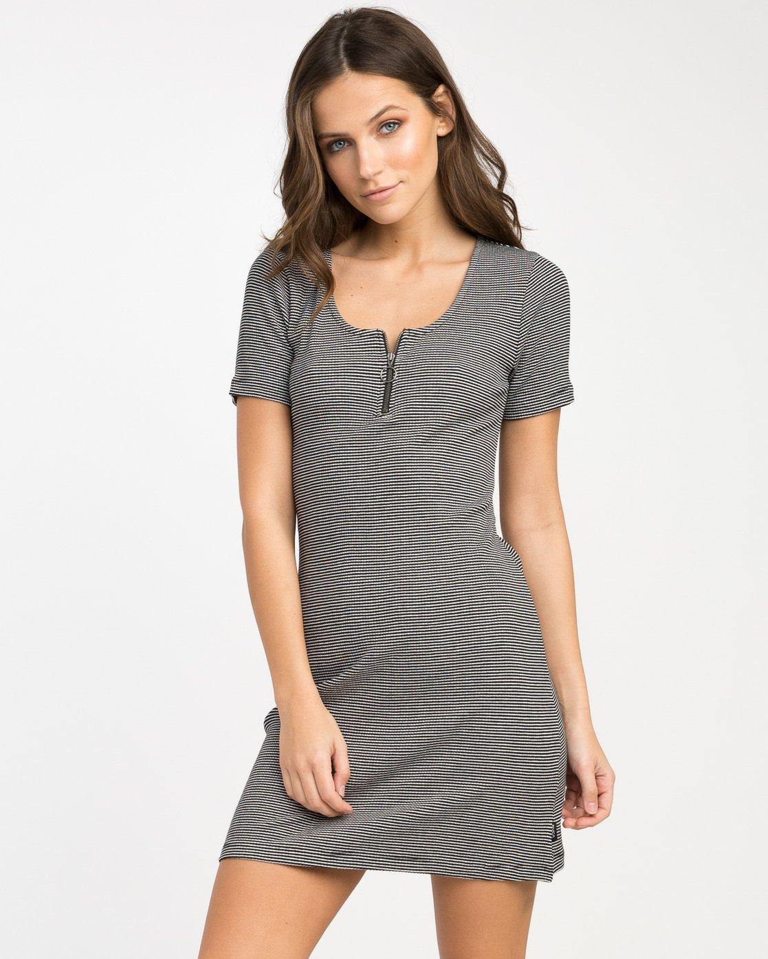 0 Zip It Ribbed Dress Black WD05NRZP RVCA