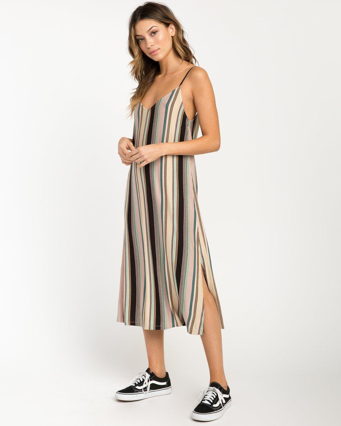 0 Jasmine Striped Midi Dress Beige WD08PRJA RVCA