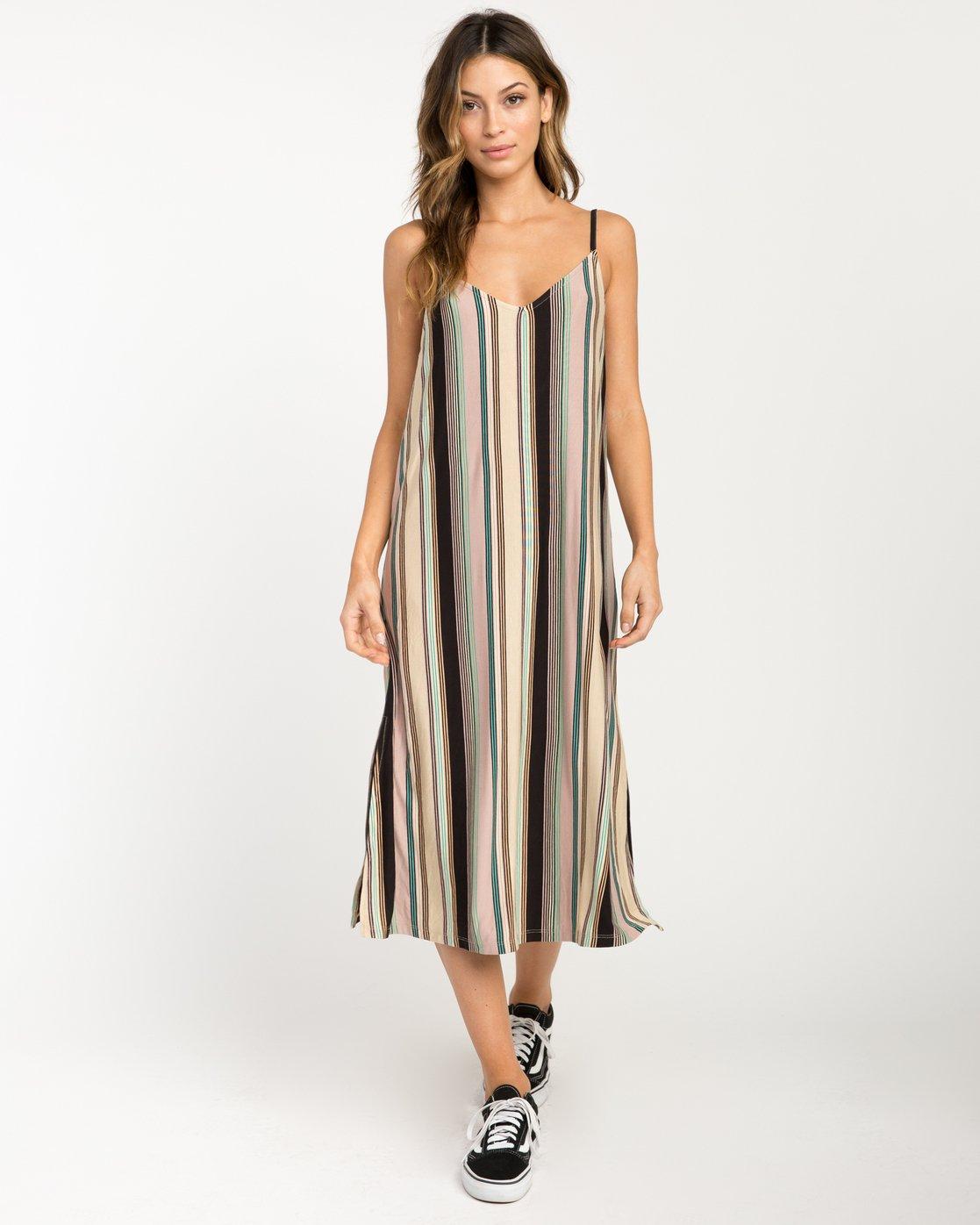 1 Jasmine Striped Midi Dress Beige WD08PRJA RVCA