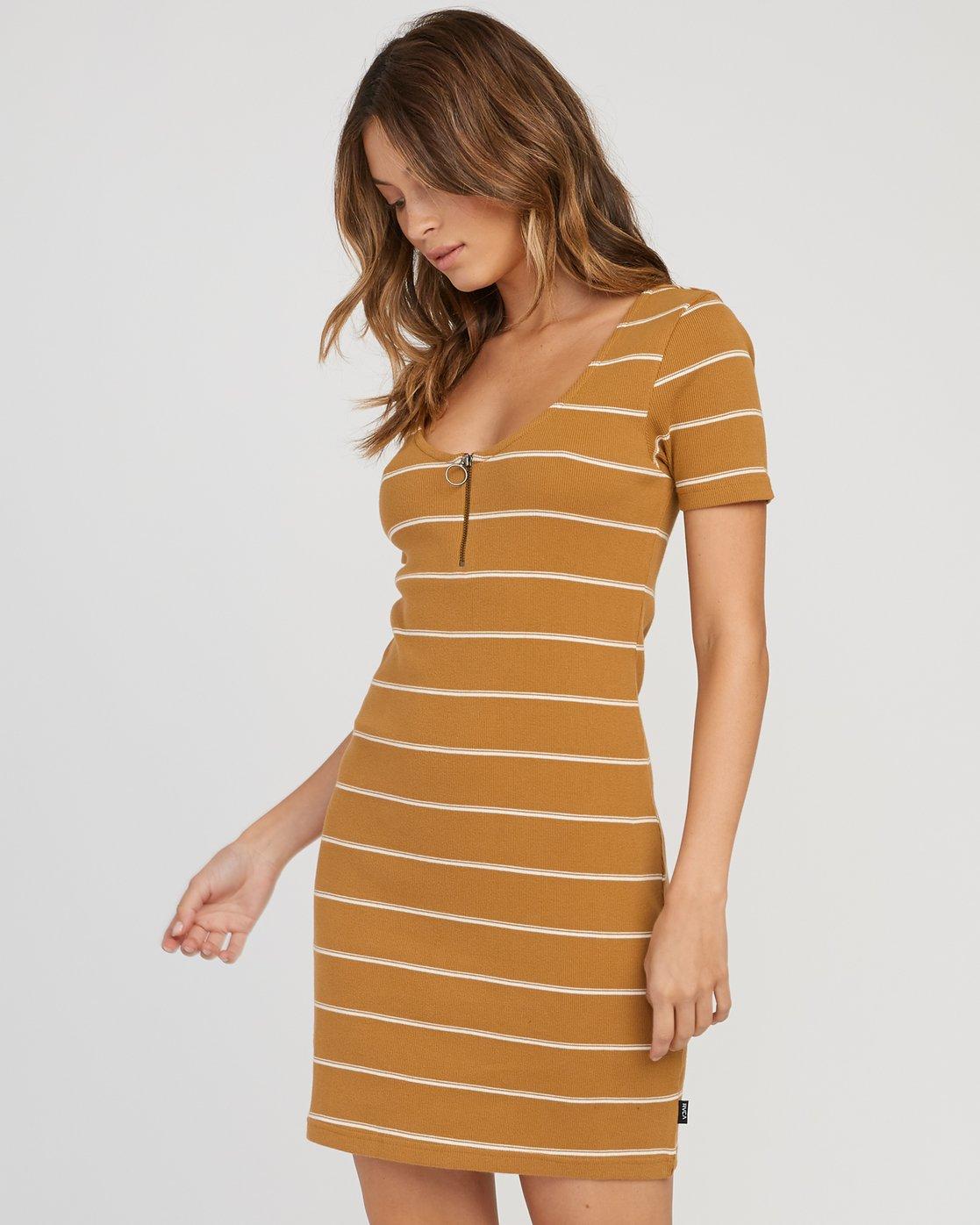 1 Donner Striped Knit Dress Yellow WD08SRDO RVCA