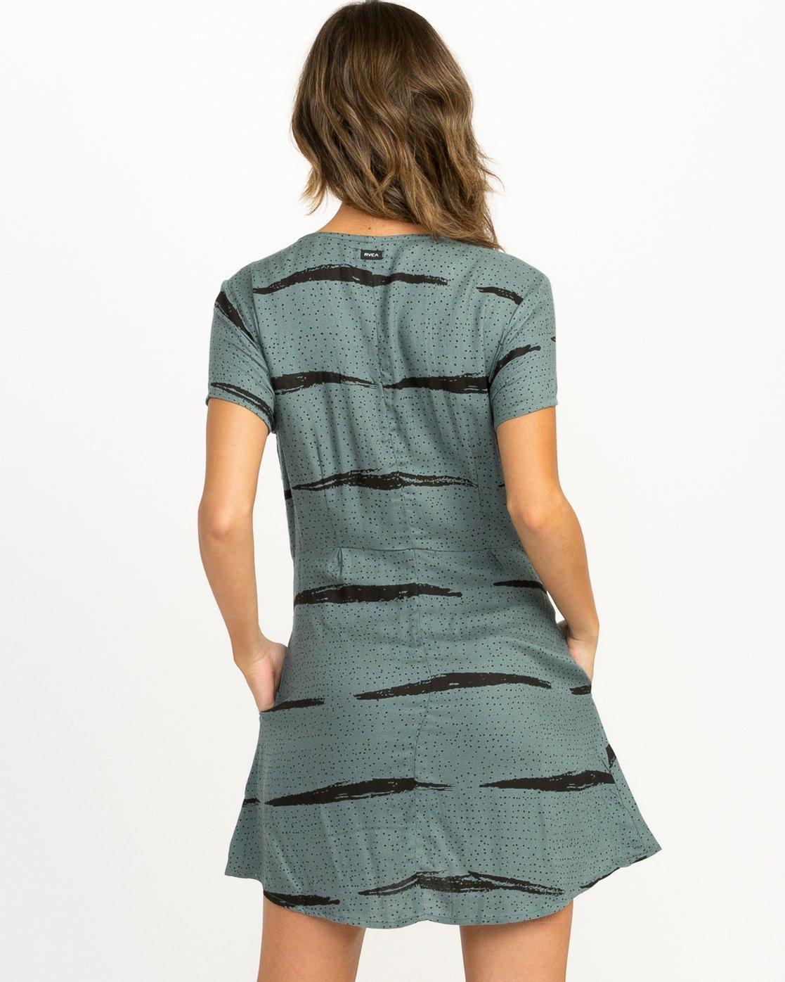 2 Dawning Printed Zip Dress Green WD10QRDA RVCA