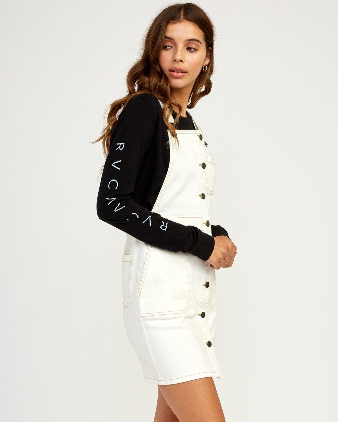 2 Conquer Denim Overall Dress White WD11TRCO RVCA