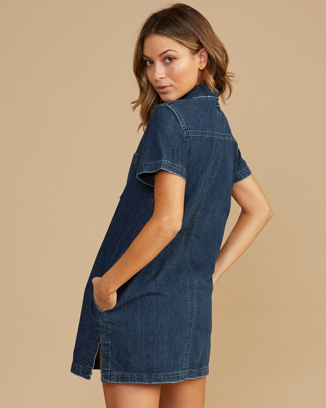 2 Handle Denim Zip Dress Blue WD12QRHA RVCA