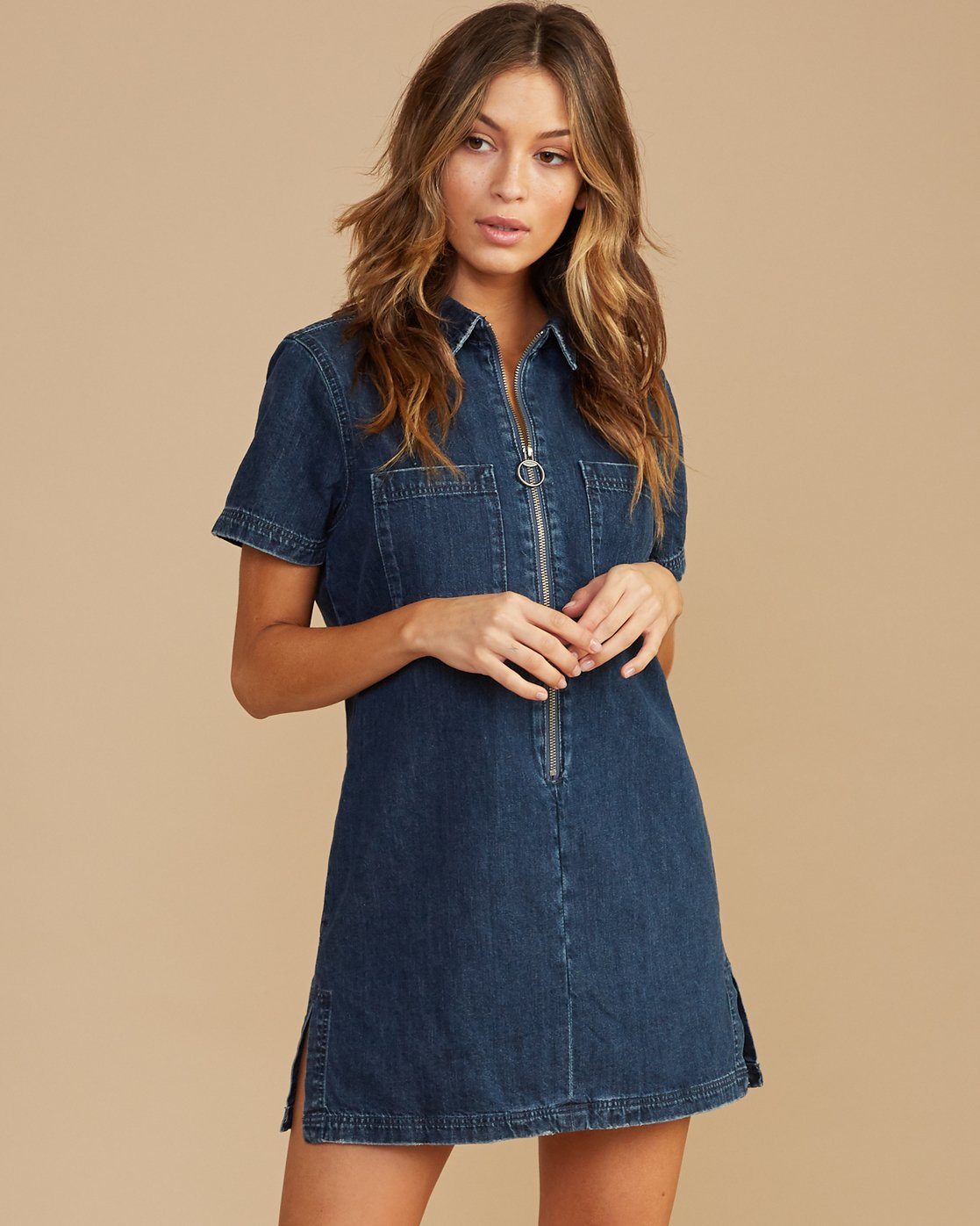 0 Handle Denim Zip Dress Blue WD12QRHA RVCA