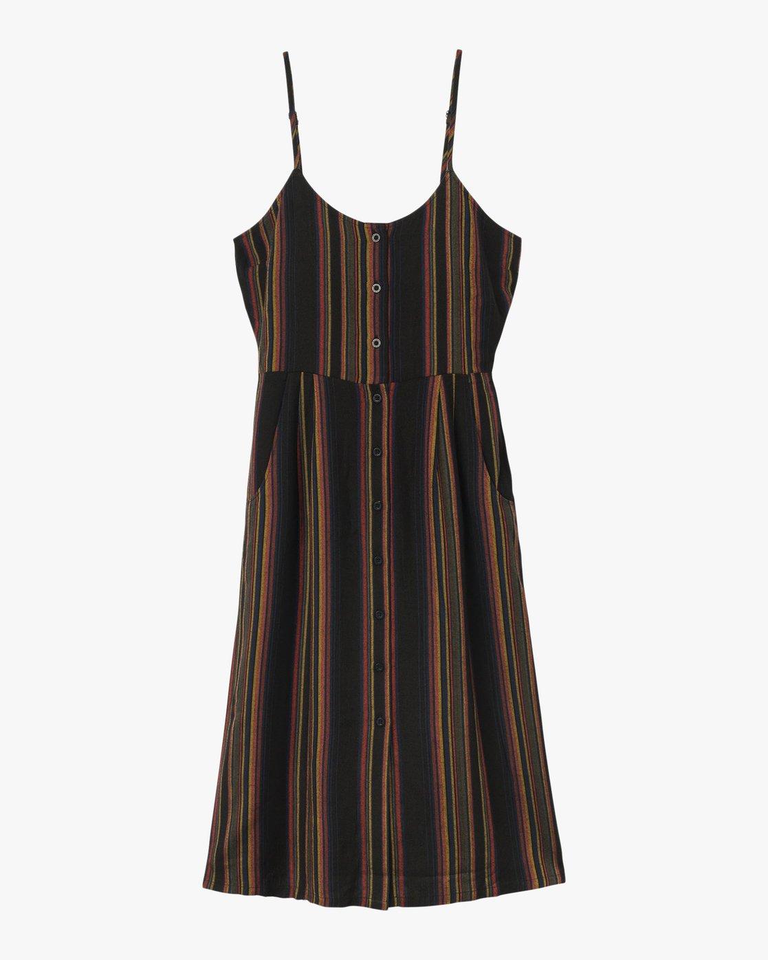 5 Medway Striped Midi Dress Black WD13QRME RVCA