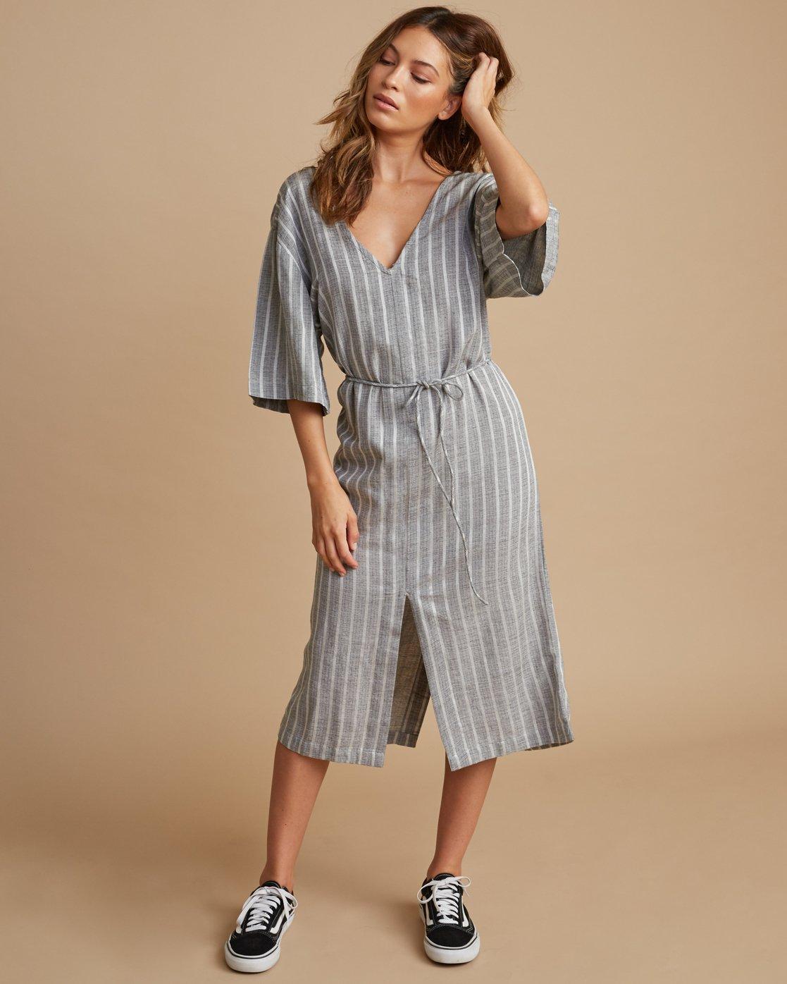 0 Sas Striped Midi Dress Silver WD13SRSA RVCA