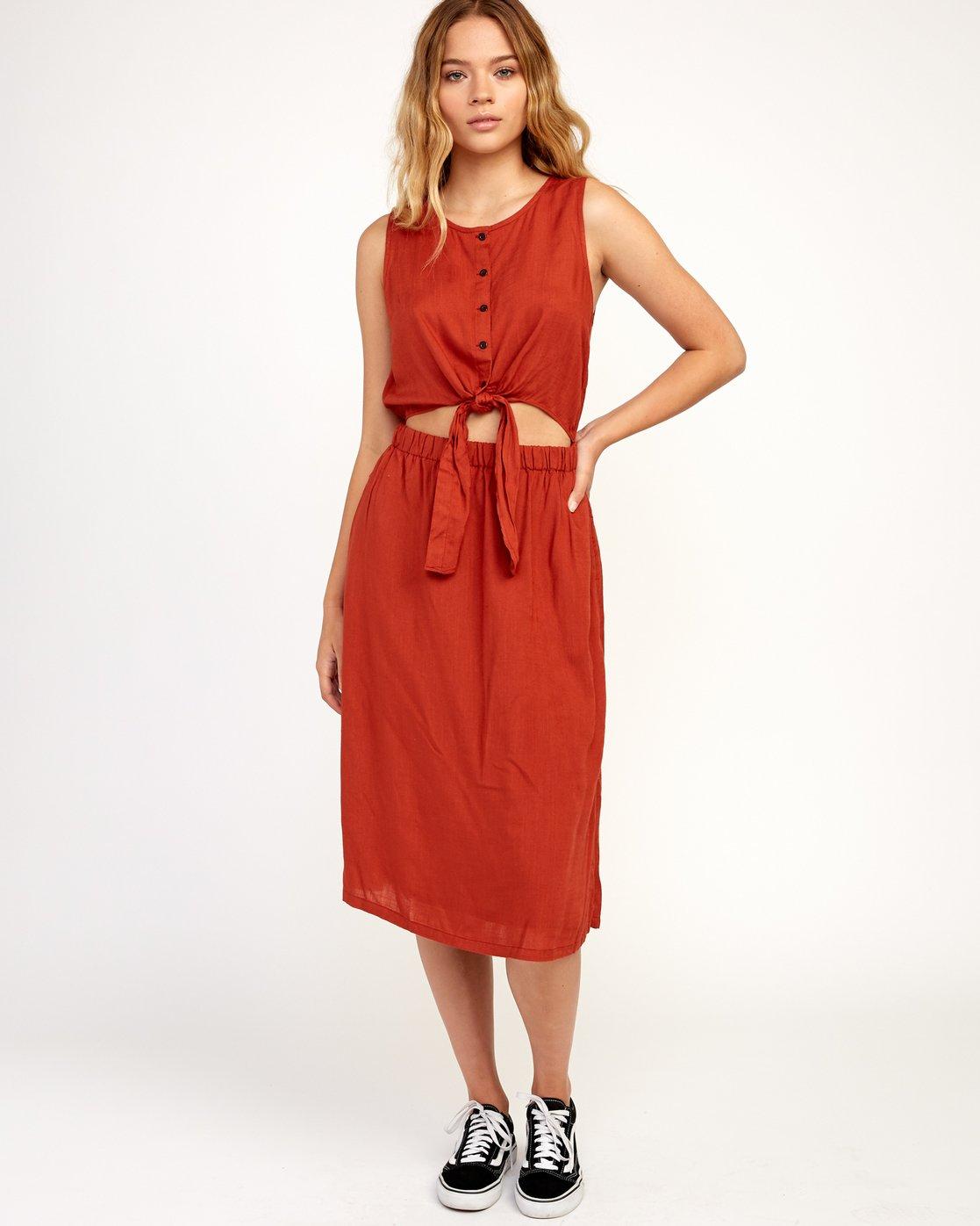 6 Arizona Woven Midi Dress Red WD16TRAR RVCA
