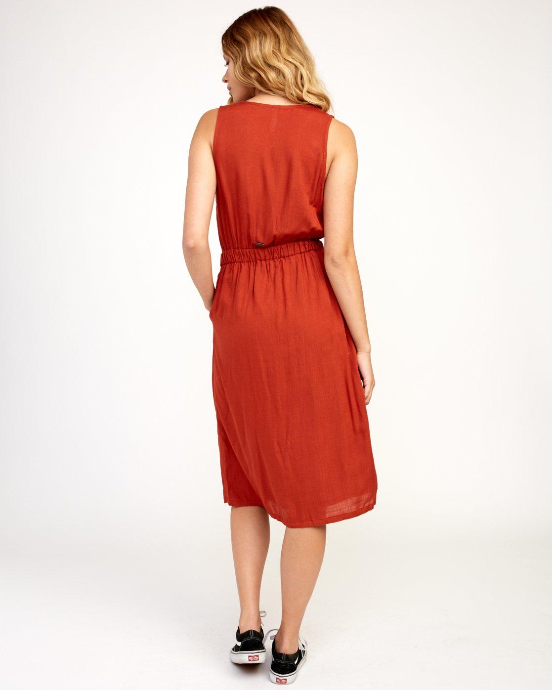 4 Arizona Woven Midi Dress Red WD16TRAR RVCA