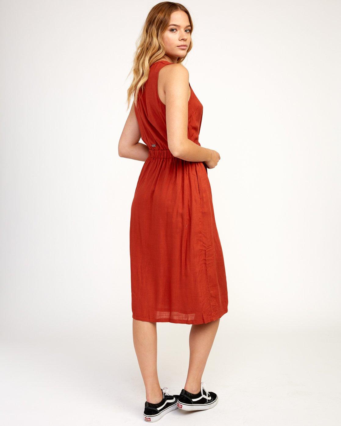 3 Arizona Woven Midi Dress Red WD16TRAR RVCA