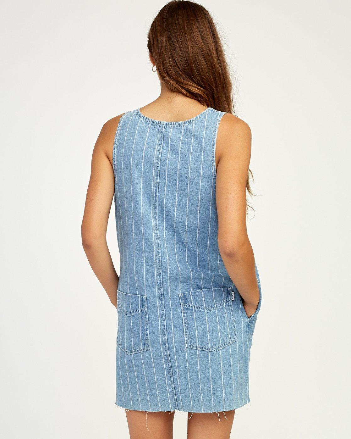 3 Trail It Striped Denim Dress Blue WD18TRTI RVCA