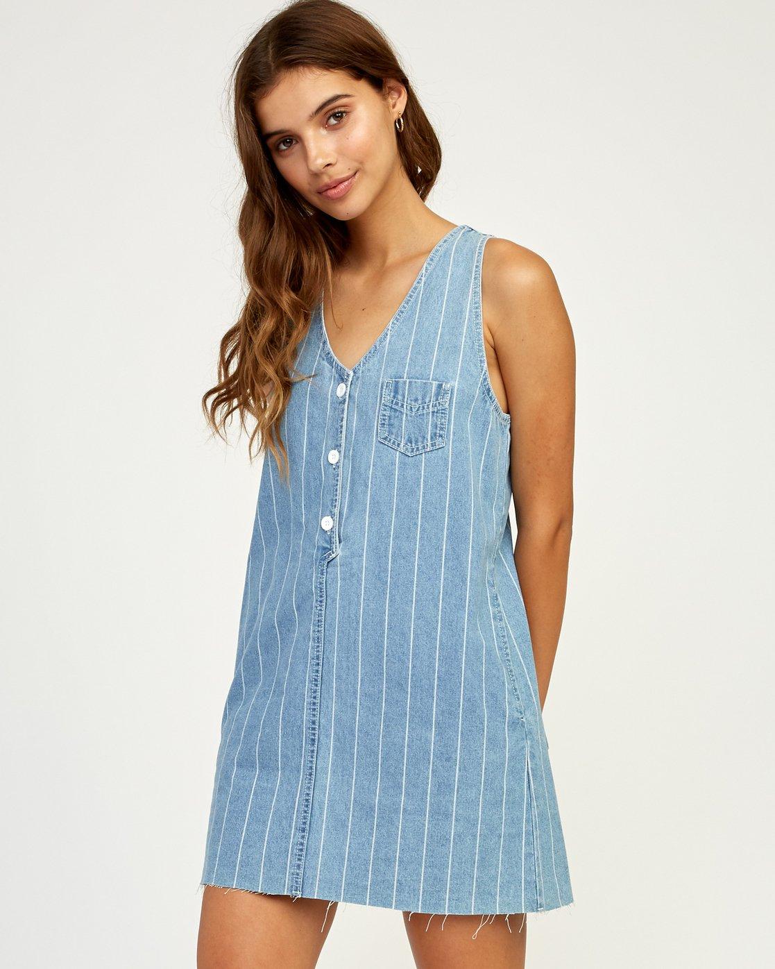 1 Trail It Striped Denim Dress Blue WD18TRTI RVCA