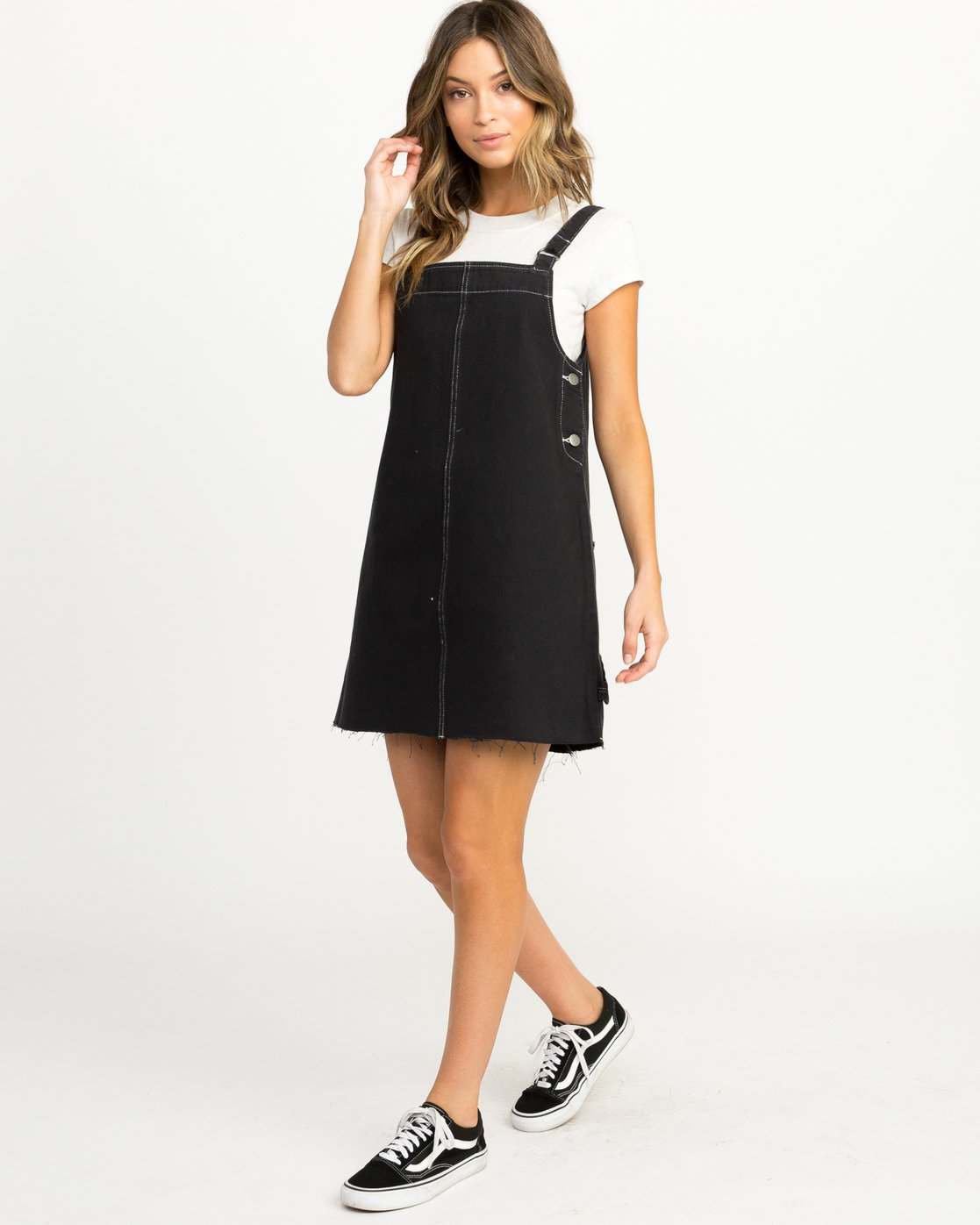 4 Neo Pinny Denim Overall Dress Black WD20QRNE RVCA