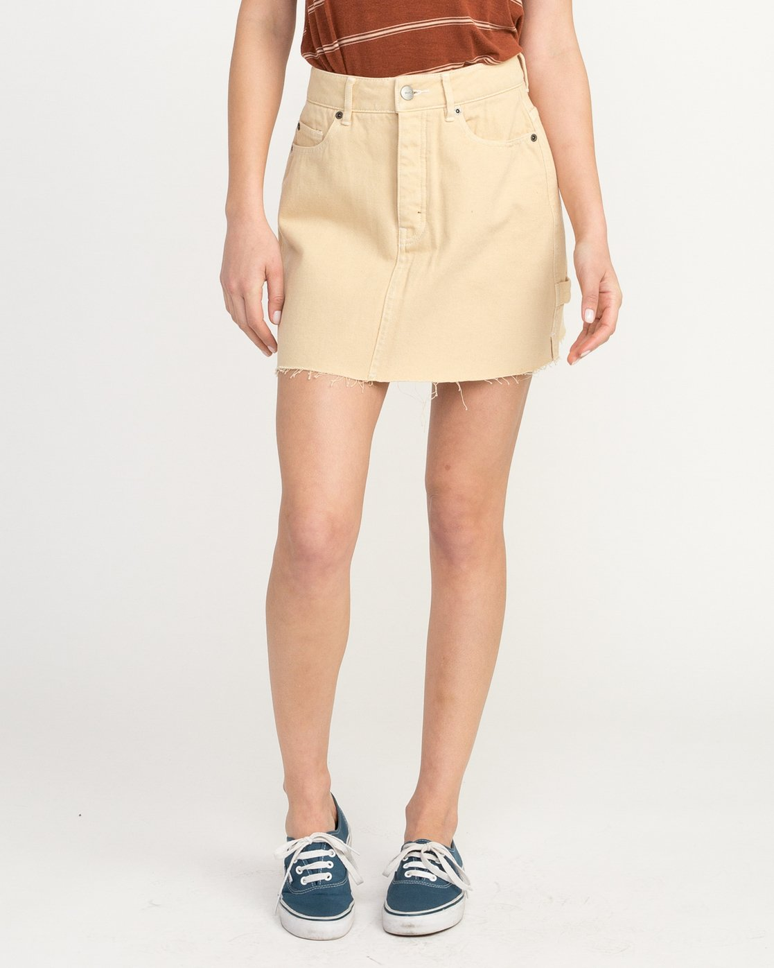 0 Hunn Neo Denim Mini Skirt Beige WK03QRNE RVCA