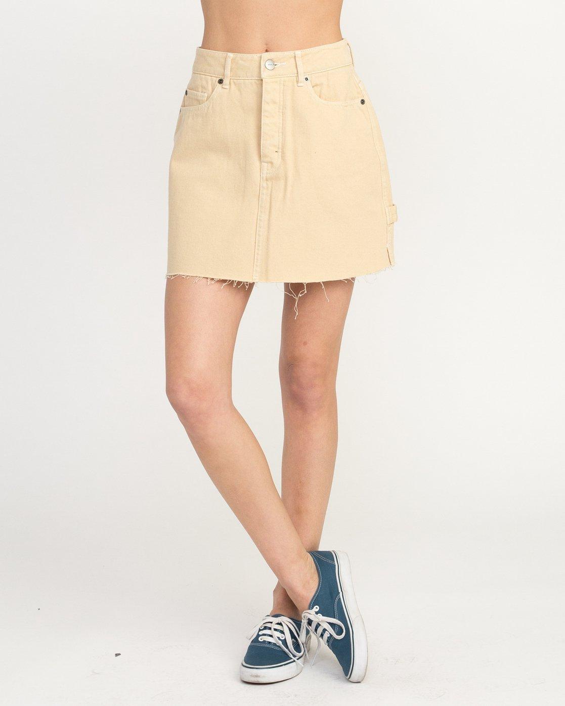 1 Hunn Neo Denim Mini Skirt Beige WK03QRNE RVCA