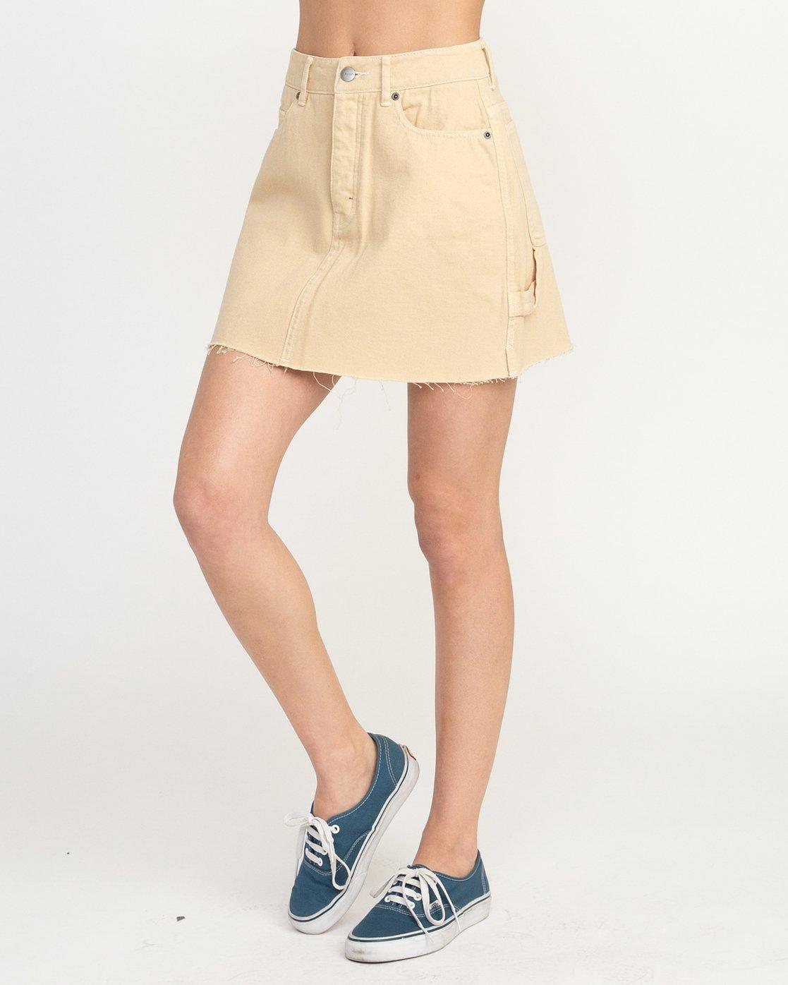 2 Hunn Neo Denim Mini Skirt Beige WK03QRNE RVCA